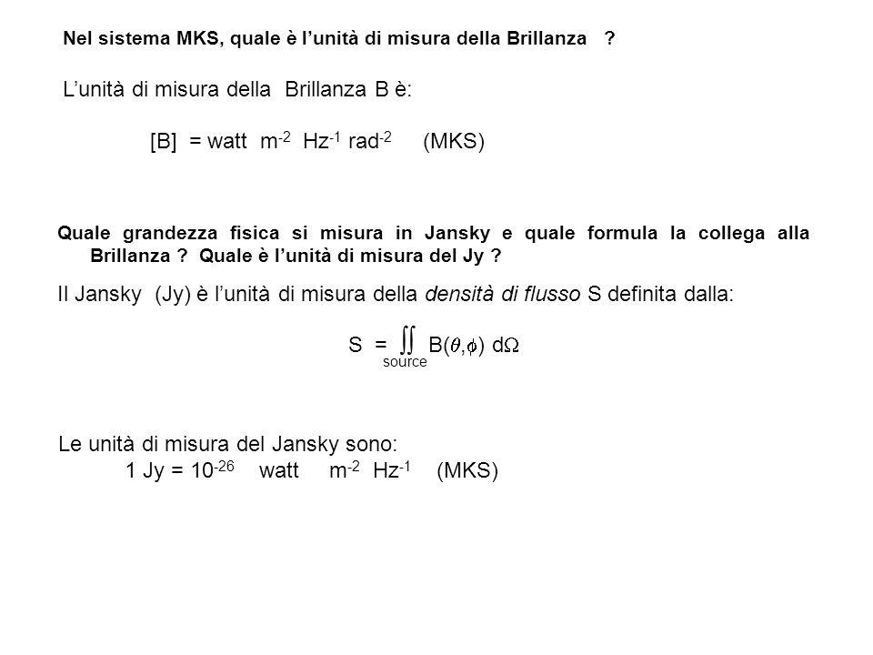 L'unità di misura della Brillanza B è: [B] = watt m-2 Hz-1 rad-2 (MKS)